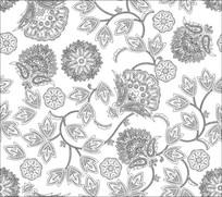 孔雀玉砂花雕刻图案