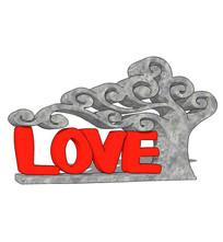 love字样创意雕塑su模型