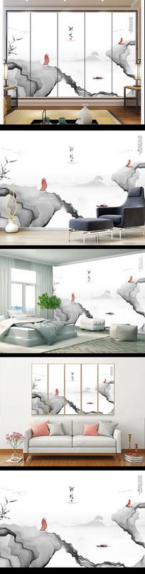 新中式意境水墨山水电视背景墙