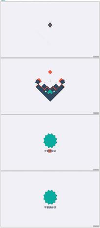 MG风格方块拼贴Logo动画