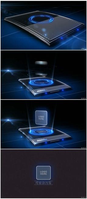 高科技芯片插入屏幕上投射标志