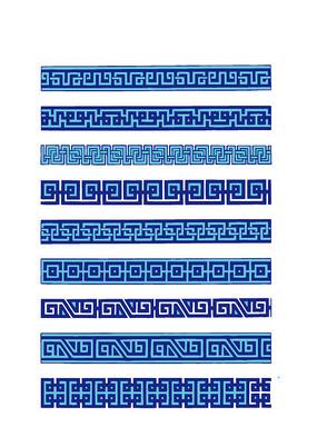 蓝色的传统长花边图案