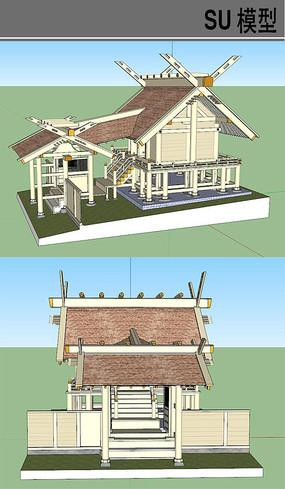 日式复杂的古典建筑