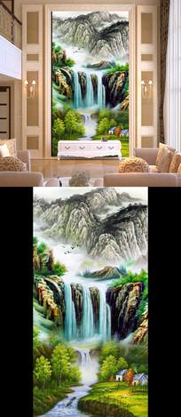 油画国画山水画瀑布玄关