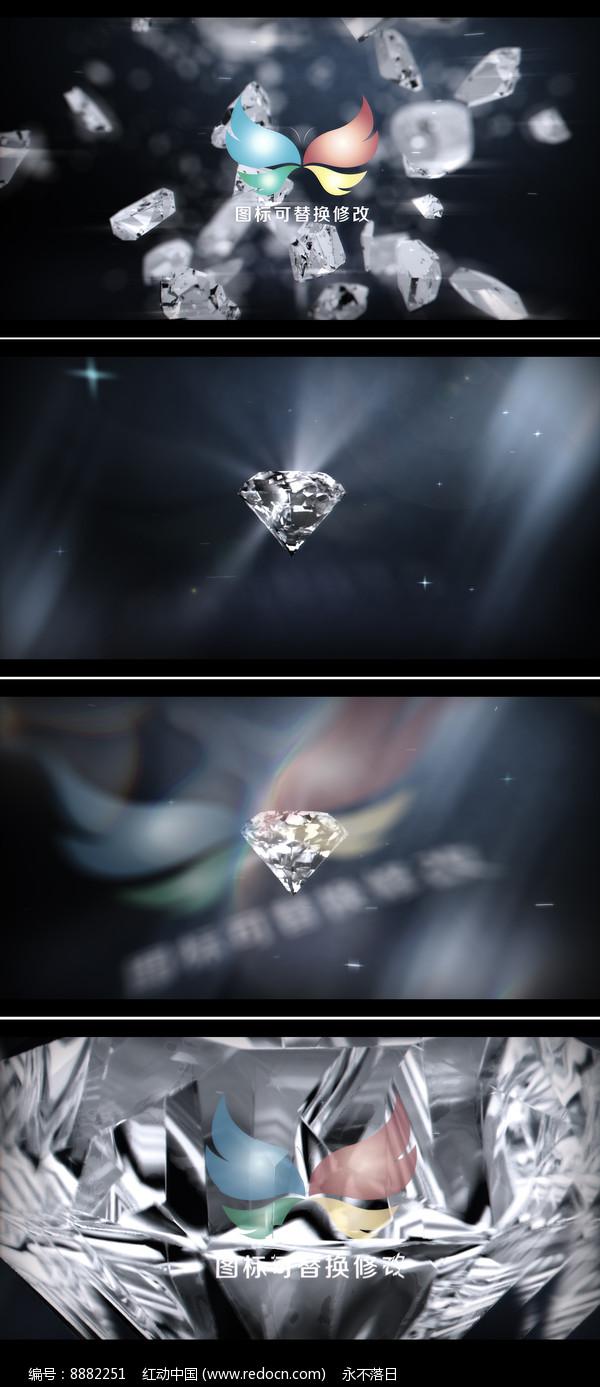 钻石爆炸企业标志展示ae模板图片