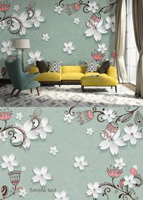 3D桃花抽象花鸟沙发背景墙