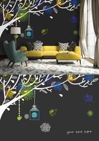 手绘抽象花鸟沙发背景墙