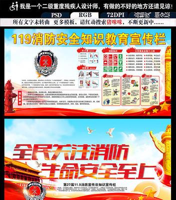 2017年红色消防安全展板