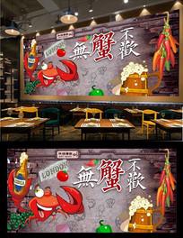 香辣蟹墙画背景墙