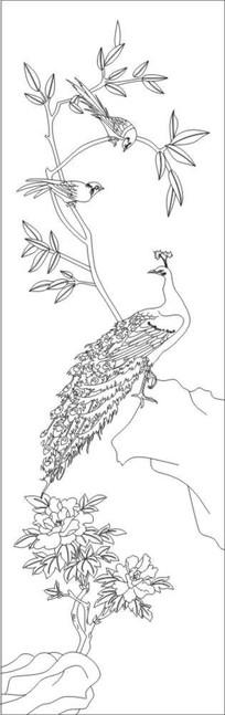 牡丹孔雀雕刻图案