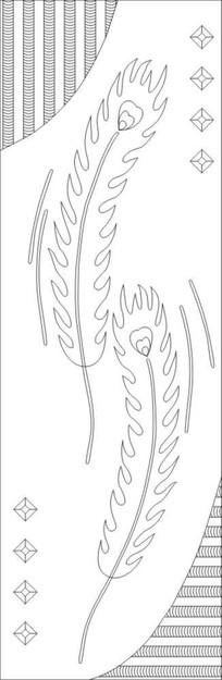 抽象孔雀叶雕刻图案