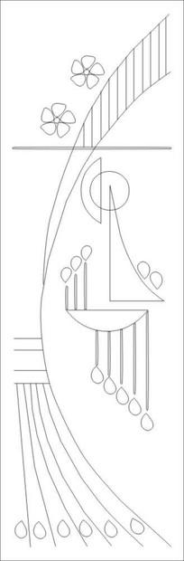 抽象孔雀花雕刻图案