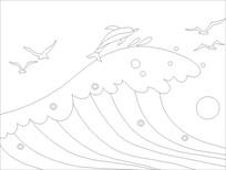 海豚跳跃雕刻图案