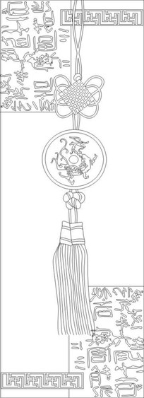 神兽中国结雕刻图案