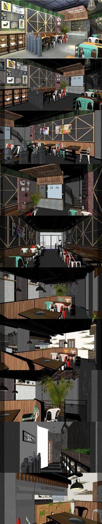 工业风火锅餐厅设计SU模型