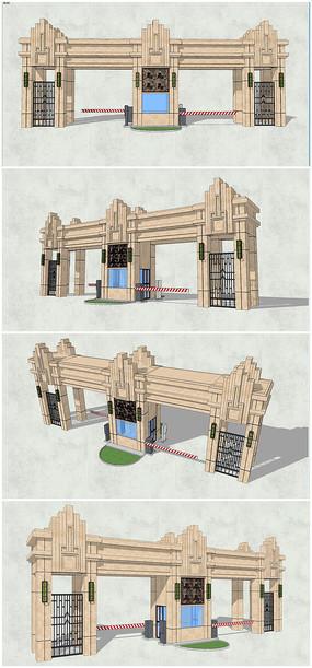 精品古典小区入口大门SU模型
