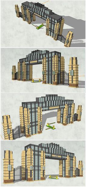 欧式大门SU模型