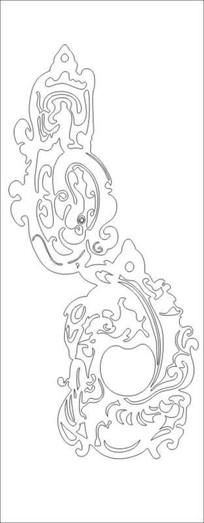 抽象龙凤图雕刻图案
