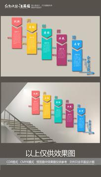 企业彩色开创辉煌楼梯文化墙