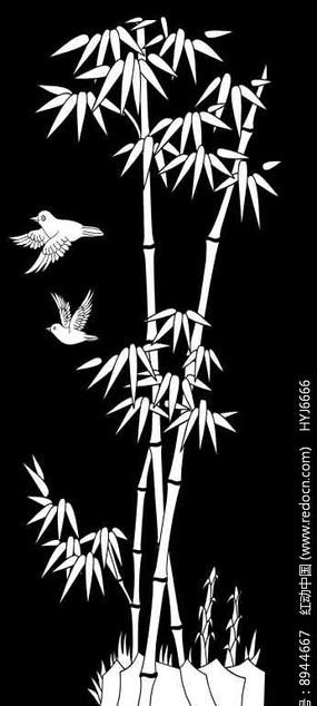 竹鸟雕刻图案