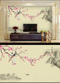 手绘梅花花鸟装饰画背景墙
