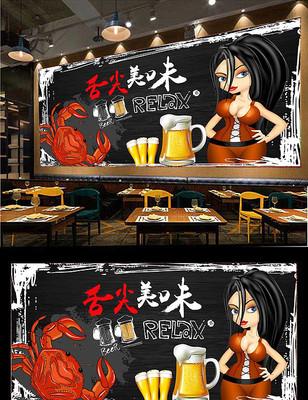 香辣蟹海鲜餐厅背景墙