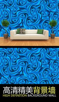 高档蓝色玫瑰连续图案背景墙