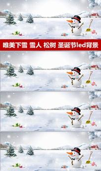 下雪雪花飘雪人led背景视频