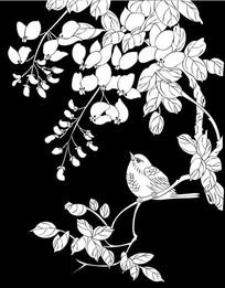 蝴蝶兰小鸟雕刻图案