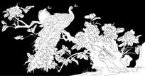 孔雀牡丹花雕刻图案