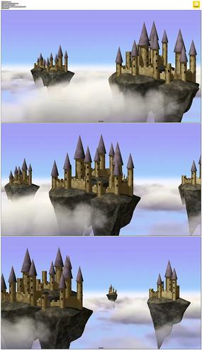 天空之城城堡动态视频素材