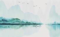新中式山水意境水墨背景墙