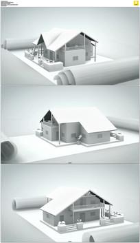 旋转的建筑图纸模型视频素材