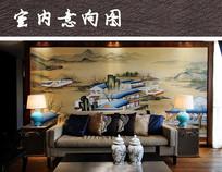 现代中式客厅背景墙装饰