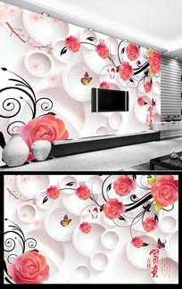 浮雕玫瑰花客厅电视背景墙图片