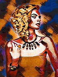 现代美女油画装饰画