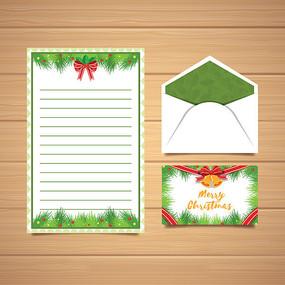 绿色清新圣诞节信封信纸设计