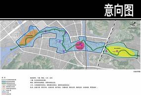 某溪两岸景观功能结构图