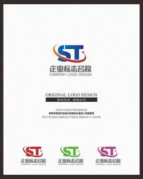 ST字母组合全球科技标志
