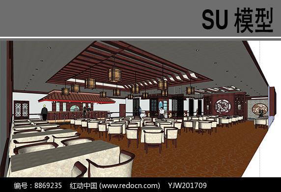 古典中式餐厅模型图片
