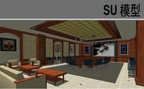 中式会议室模型