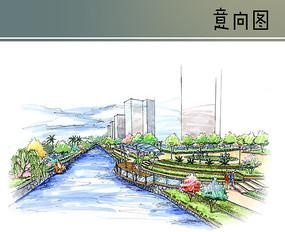滨河广场手绘效果图 JPG