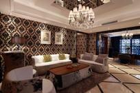 欧式温馨客厅效果图