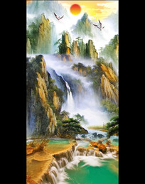 油画国画风景画客厅画玄关
