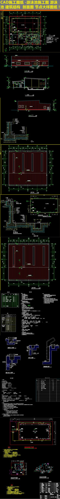 CAD游泳池建筑节点施工图