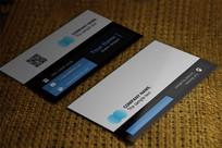藍色簡約黑白紋理個性名片