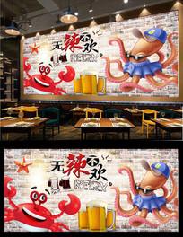香辣蟹背景墙海报