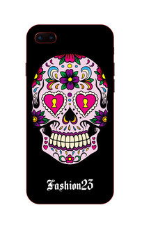 粉红骷髅头手机壳图案