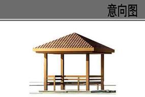现代木质凉亭素材 PSD