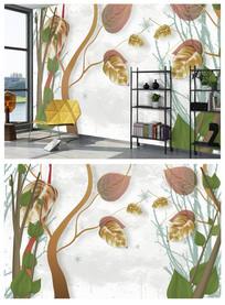 北欧简约个性清新树叶子背景墙